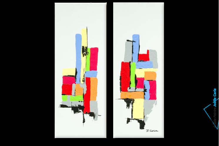 Tableaux modernes dyptyque gris Constructions colorées