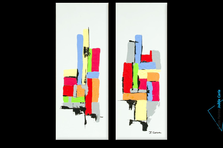 Tableau diptyque gris vert jaune gransd format en hauteur for Images tableaux modernes