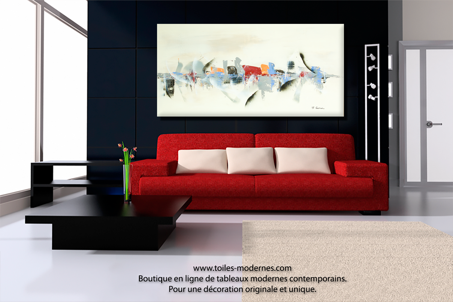 tableau moderne grand format salon accueil design et mobilier. Black Bedroom Furniture Sets. Home Design Ideas