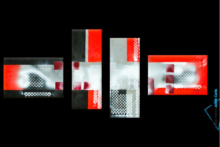 Tableau XXL Quadriptyque gris noir rouge Nouvelle vision