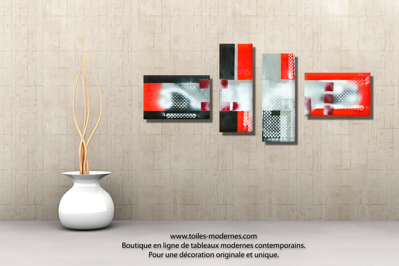 tableau gris noir en plusieurs panneaux dessins g om triques abstraits pour d co actuelle. Black Bedroom Furniture Sets. Home Design Ideas