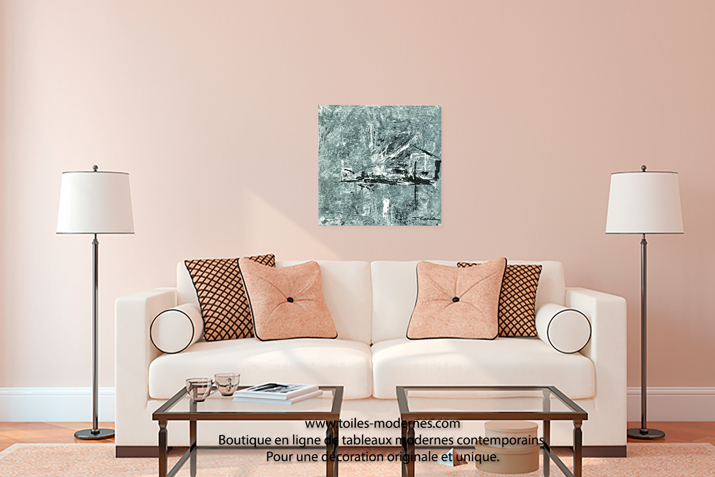 Tableau design gris pas cher oeuvre d 39 art moderne ch ssis en bois pour une d co stylis e - Tableau decoration salon ...