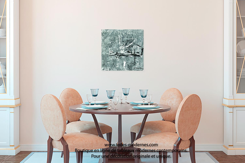 Tableau design gris pas cher oeuvre d 39 art moderne ch ssis en bois pour un - Tableau decoration sejour ...